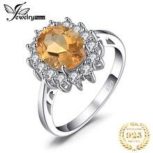 JewPalace Prinses Diana Echte Citrien Ring 925 Sterling Zilveren Ringen voor Vrouwen Engagement Ring Zilver 925 Edelstenen Siera
