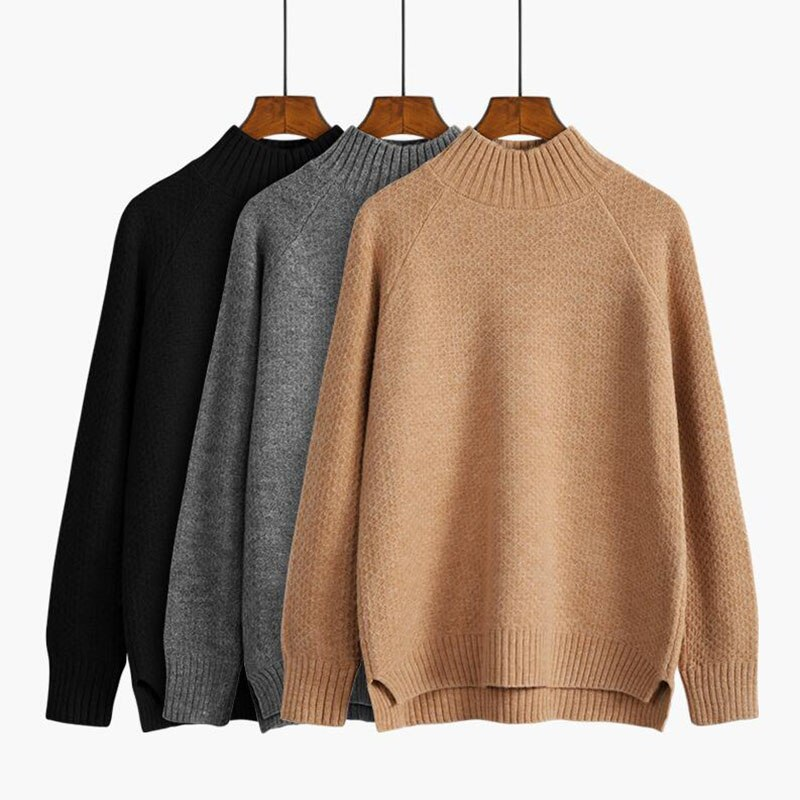 Half Turtleneck Women Sweater Pullover 2020 Autumn Winter Casual Long Sleeve chic Loose Knit Sweater Female Jumpers Tops hdy haoduoyi 2018 new arrival beige knit half necked openwork loose pullover sweater autumn winter