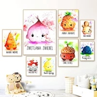 cute onion ginger lemon nut wall art canvas painting nordic posters and prints cartoon wall pictures for kitchen kids room decor