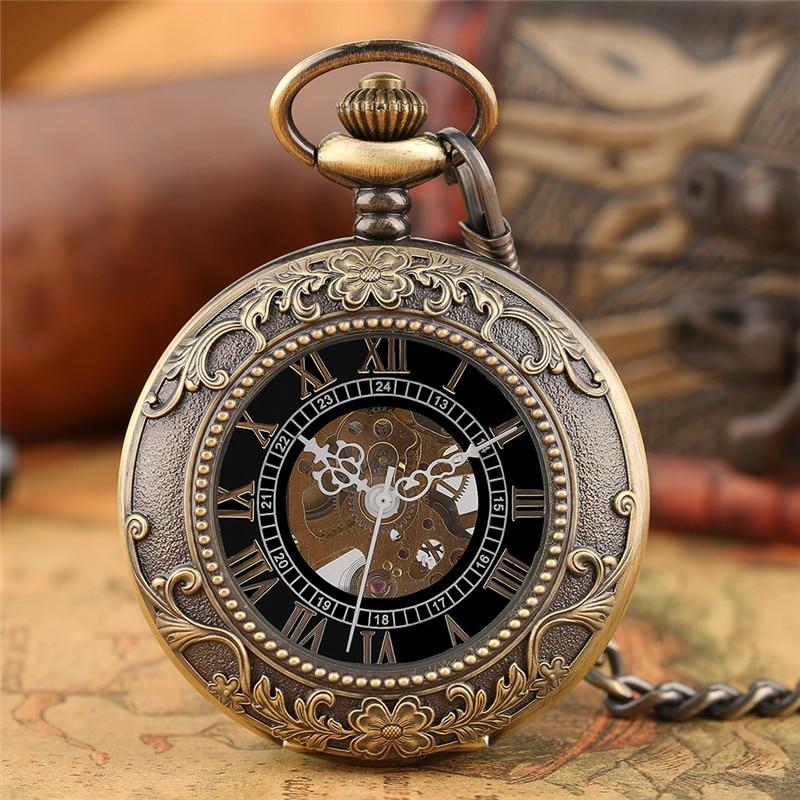 Steampunk Men Women Hand Winding Mechanical Pocket Watch Luxury Fashion Roman Numerals Skeleton Watches FOB Pendant Chain Gifts