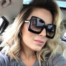 XaYbZc Fashion Oversized Women Sunglasses Brand Designer Plastic Female Big Frame Gradient Sun Glass