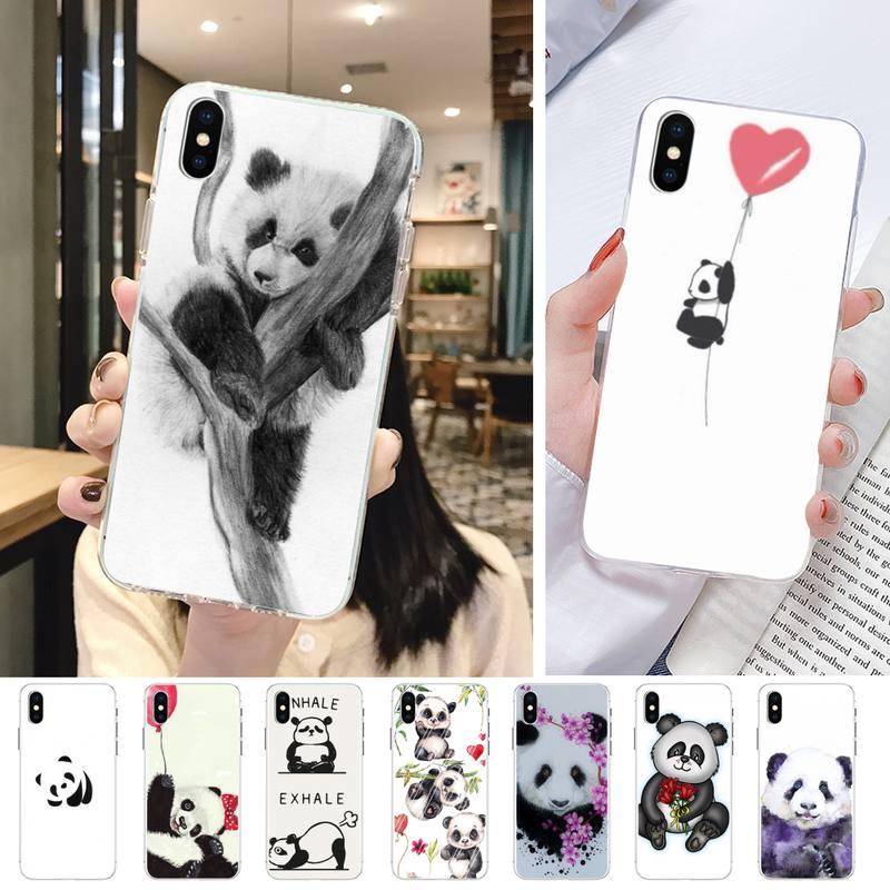 Bonito panda corte pintura caixa do telefone transparente para iphone 5 6 7 8 11 pro max xr xs plus tpu caso de telefone