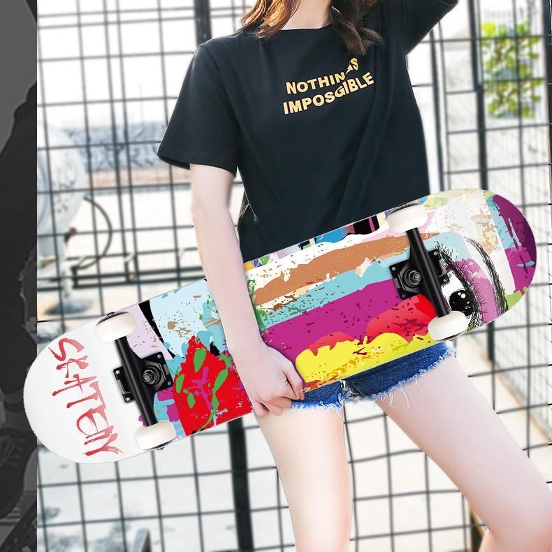 Скейтборд с аниме-дизайном, оборудование для начинающих, для взрослых, полный скейтборд, старая школа, скейтборд для девочек, оборудование д...