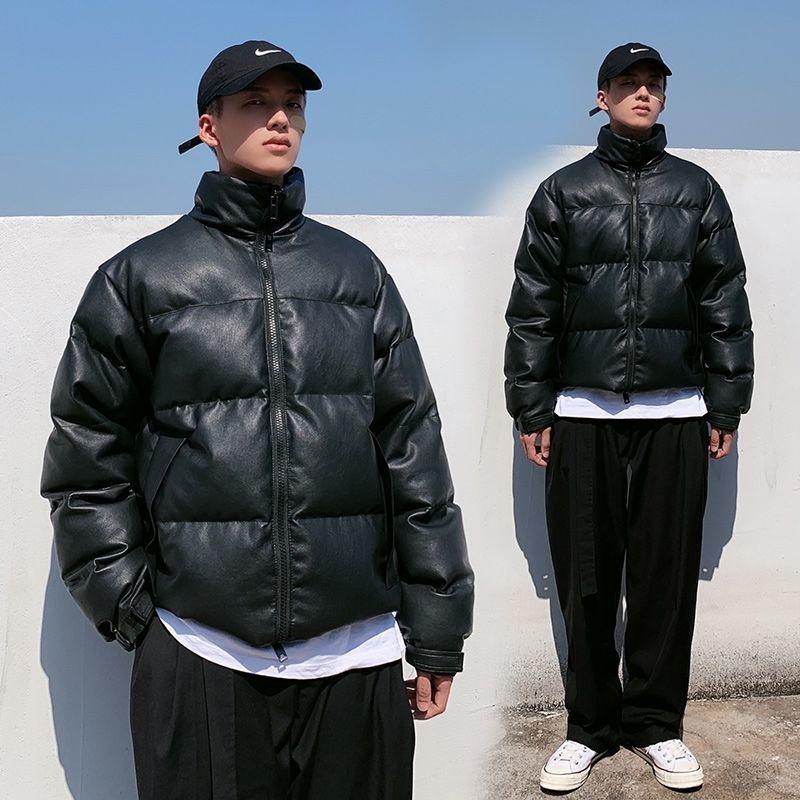 Faux Leather Winter men's PU leather padded jacket coat Thick Warm Parka street Fashion bread jacket for men Windbreaker Outwear