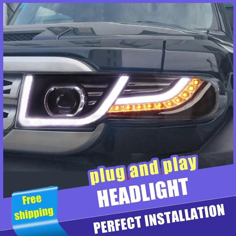 2 uds estilo de coche faros LED para Toyota FJ CRUISER 06-15 para FJ la cabeza de la lámpara LED DRL lente de haz doble H7 Xenón HID bi xenón lente