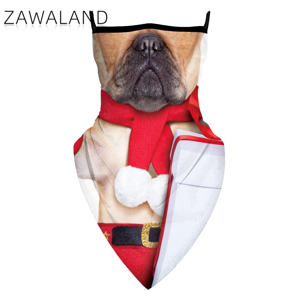 Zawaland Dog Print Triangular Scarf Breathable Reusable Multifunctional Bandana Fashion Outdoor Unisex Christmas Neck Scarves
