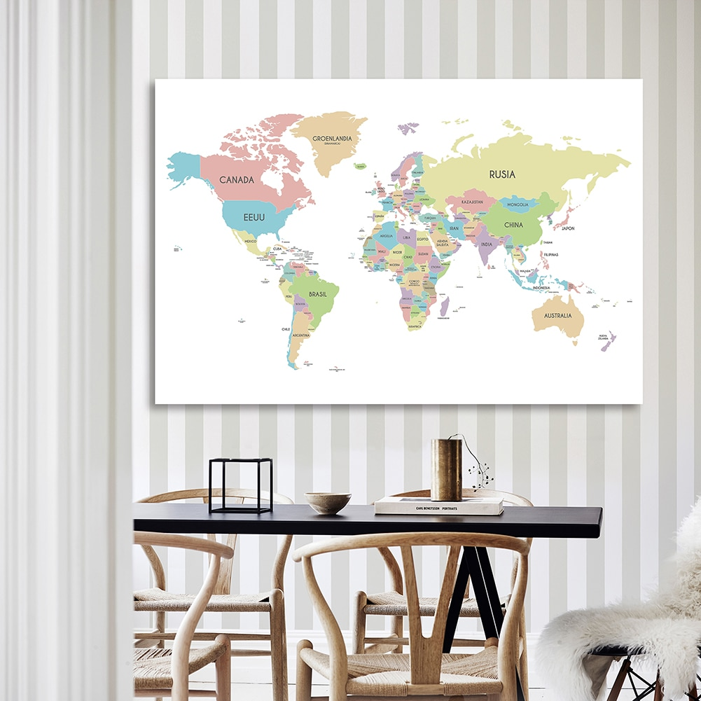 225*150cm In Spanish The World Map Wall Poster Non-woven Canvas Painting Background Cloth Home Decor School Supplies