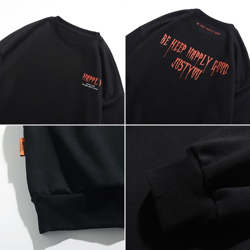Jersey informal de cuello redondo para hombre 020, Otoño, nueva moda suelta, sudadera gótica con estampado de letras con mangas, abrigo a la moda, ropa de calle