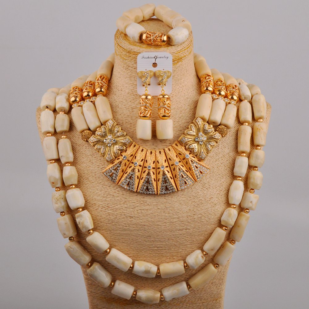 African Wedding Beads White Coral Jewelry Bridal Set Nigerian Necklace for Bride