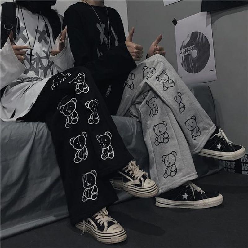 Korean Style Wide Leg Pants Cartoon Print Harajuku Trousers Women Streetwear Autumn Fashion Streetwe