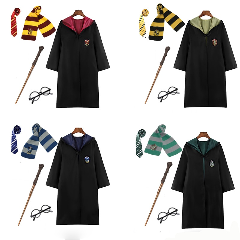 Disfraz de túnica Potter Cosplay capa con pañuelo para lazo varita gafas Ravenclaw/Gryffindor/Hufflepuff/Slytherin Hermione regalo de Navidad