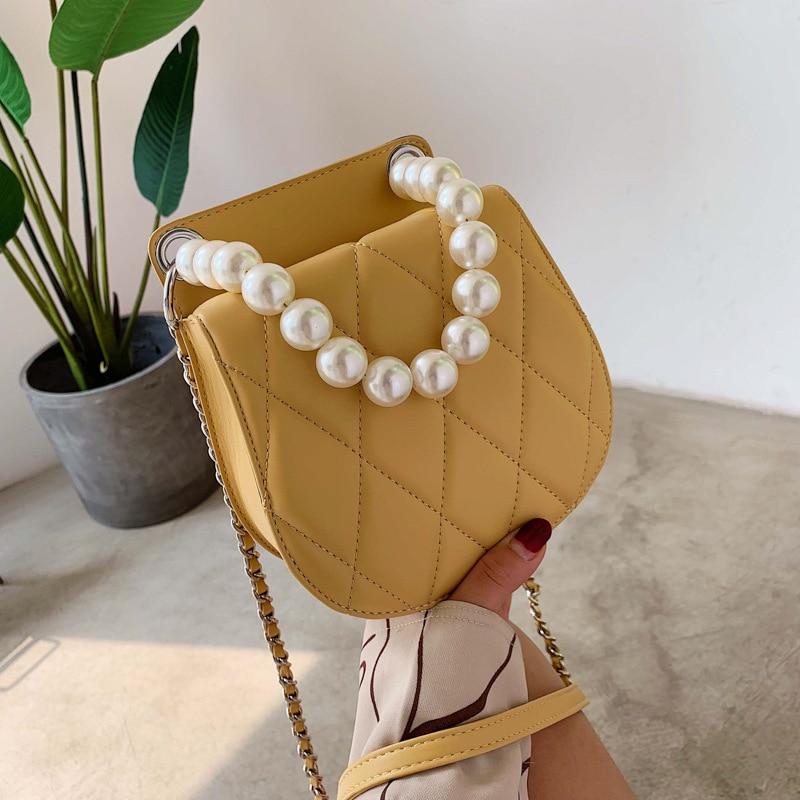 JIULIN versión coreana de nombre simple Yuanfeng Ling cadena simple bolso de mano de perlas bolso de hombro