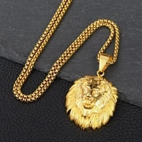 new trendy animal long hair lion head pendant necklace mens necklace metal sliding inlaid crystal necklace accessories jewelry