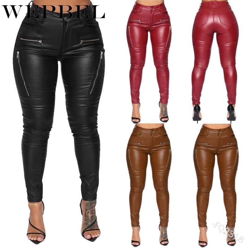 WEPBEL Sexy Bodycon PU Leather Pants Plain Women Solid Skinny High Waist Pencil Pants Female PU Trousers