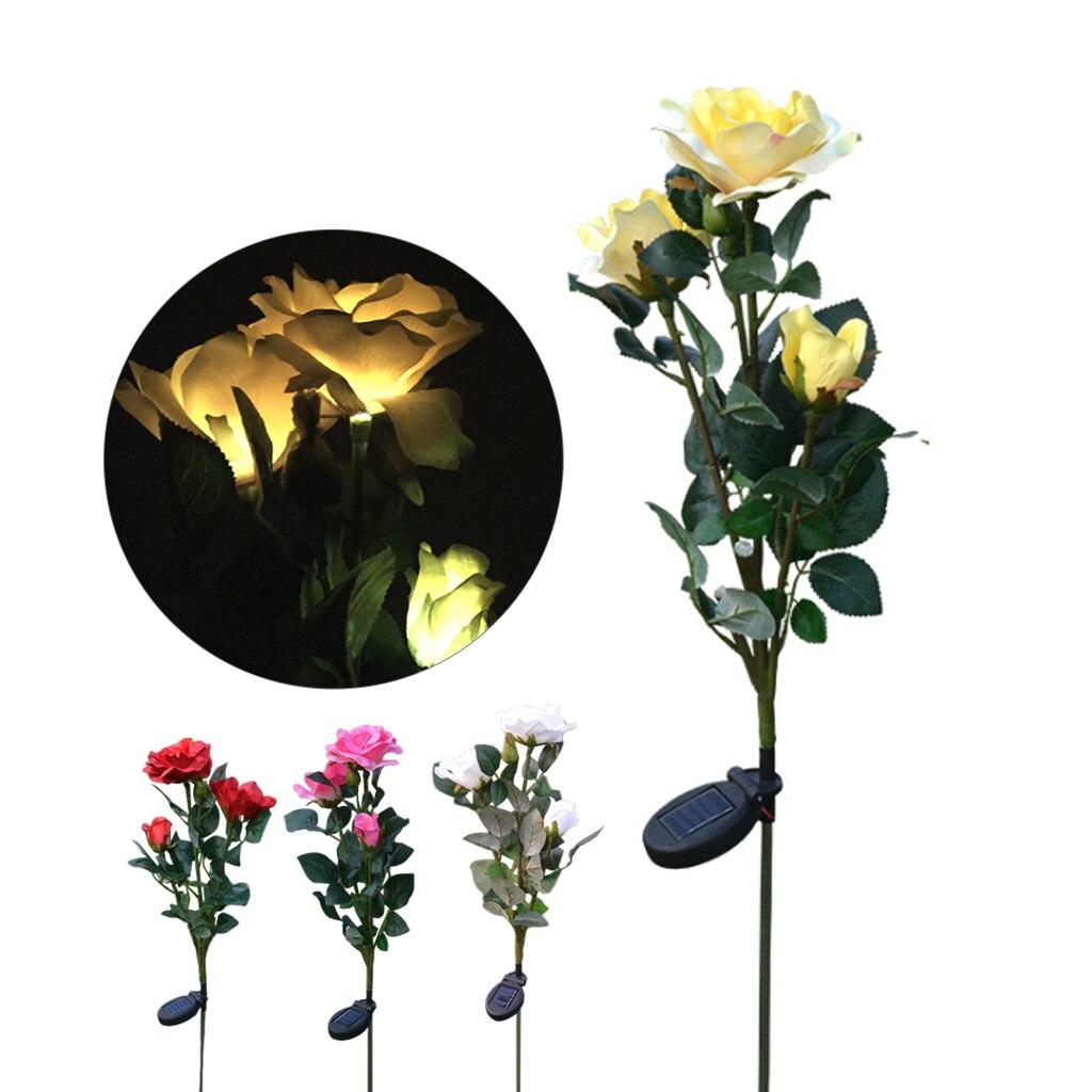 3 cabeza colorida Rosa flor luz Solar LED decorativa al aire libre césped lámpara hogar jardín falso flor luces de noche lámparas impermeables