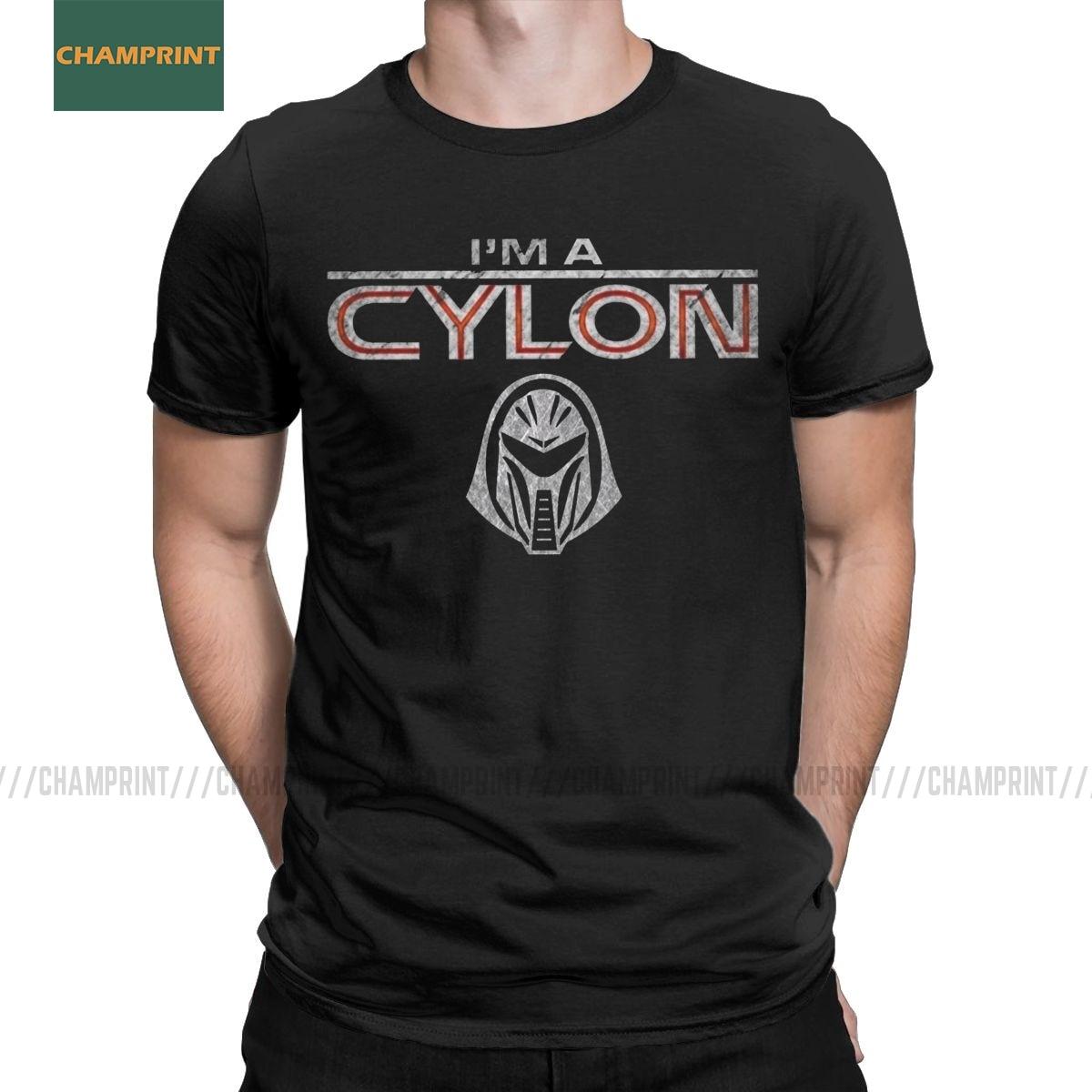 Camisetas de hombre soy un cylón Battlestar Galactica Camiseta de algodón de manga corta de la Oficina Michael Camiseta de cuello redondo