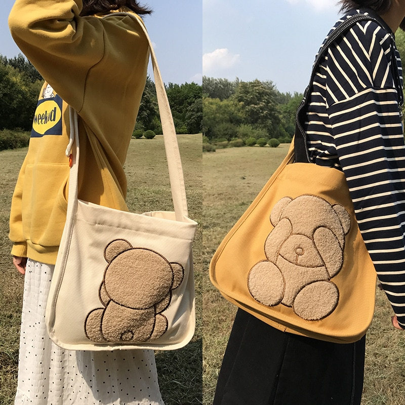 Women Canvas Shoulder Bag Double-sided Embroidery Bear Daily Shopping Bag Students Book Bag Cotton Handbags Large Tote for Girls