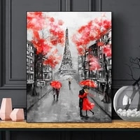 Fleurs rouges affiches Paris tour photo nordique toile peinture pour salon filles chambre mur Art imprime mode decor a la maison