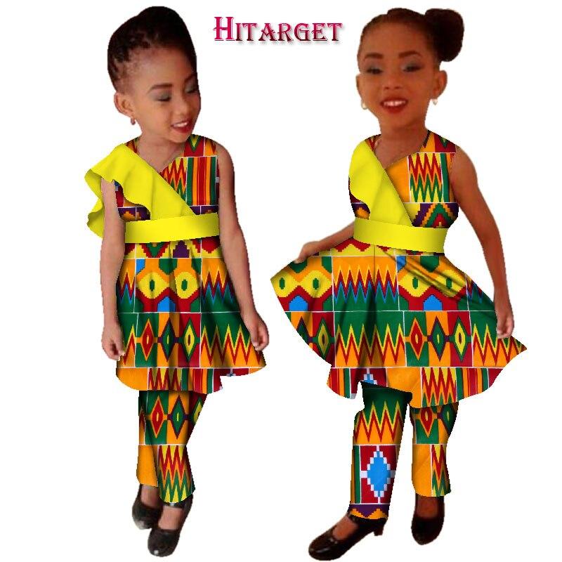 فساتين ملابس أفريقية جديدة مقاس كبير للبنات Vestidos Dashiki الأفريقية بازان الثراء المطبوع بالشمع وأطقم سراويل WYT124