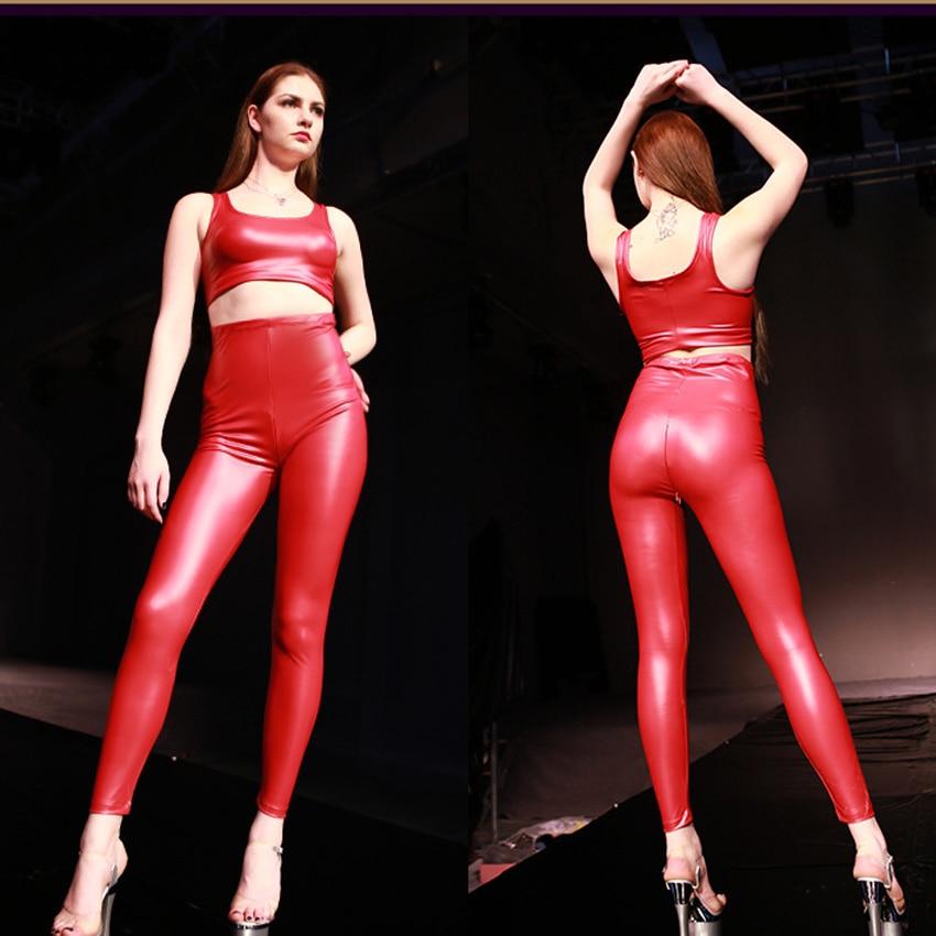 Frauen Licht Hohe Taille PVC Faux Leder Punk Stil Dünne Hosen Zipper Offenen U-Muster Gabelung Latex Ammoniak Hohe taille Hosen