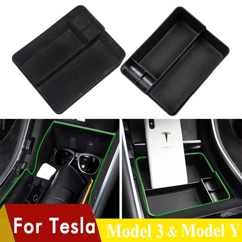 Car Armrest Storage Box Holder For Tesla Model 3 Y Interior Central Console Organizer Glove Tray Stowing Case Pallet