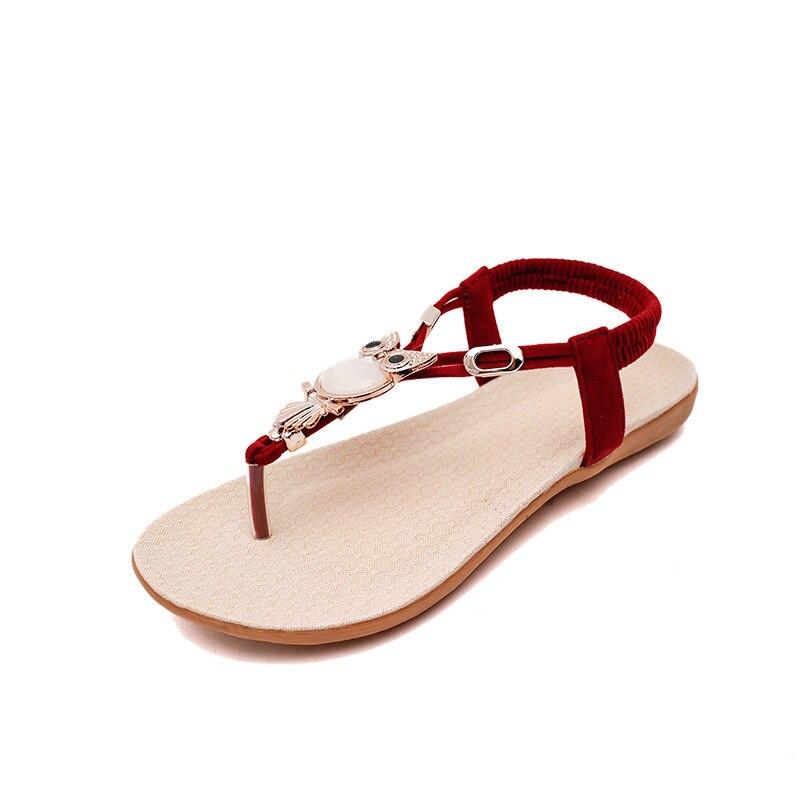 Women's Shoes 2021 New Beaded Flat Sandals Flip-flops Beach Sandals