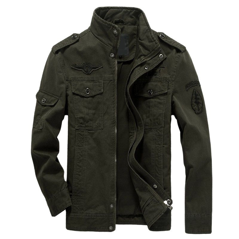 Мужская куртка-бомбер в стиле милитари, весна-осень