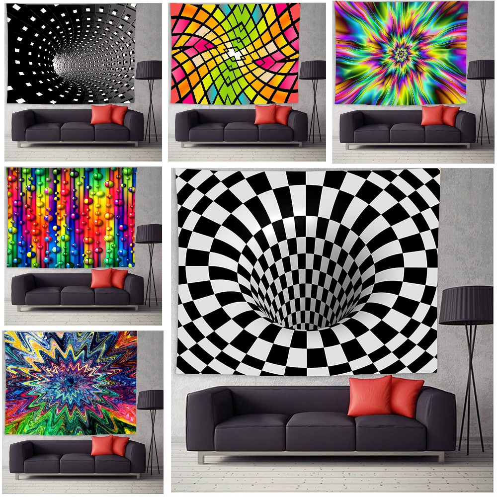 Psychedelic Tapestry Wall Hanging Trippy Tapestry Wall Decor for Bedroom Living Room Dorm Home Decoration psychedelic brick dorm decor wall hanging tapestry