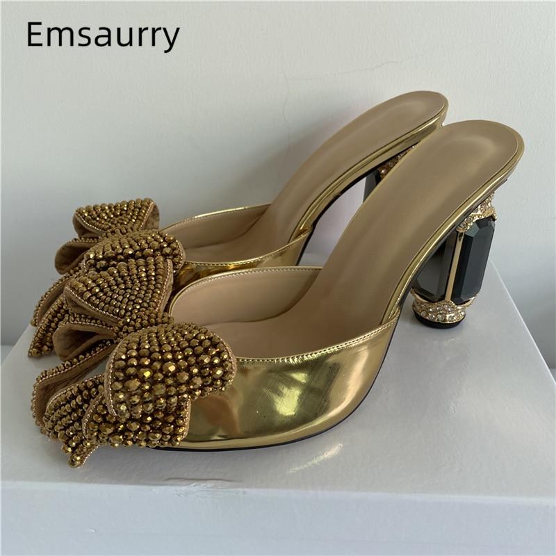 كبير كريستال فراشة عقدة الصنادل النساء الذهب براءات الاختراع والجلود اللمحة تو مرصع بالجواهر حجر الراين الماس عالية الكعب أحذية امرأة