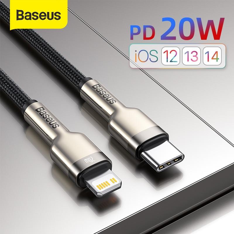Baseus usb c cabo para iphone 12 pro max pd 20w cabo de carga rápida para iphone 11 8 carregador usb tipo c cabo para macbook pro