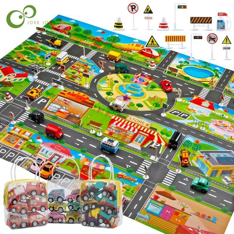Большой городской Дорожный Коврик для парковки, игровой детский коврик, развивающий детский коврик для ползания, игровой коврик, игрушки, детский коврик для игр, пазлы, GYH