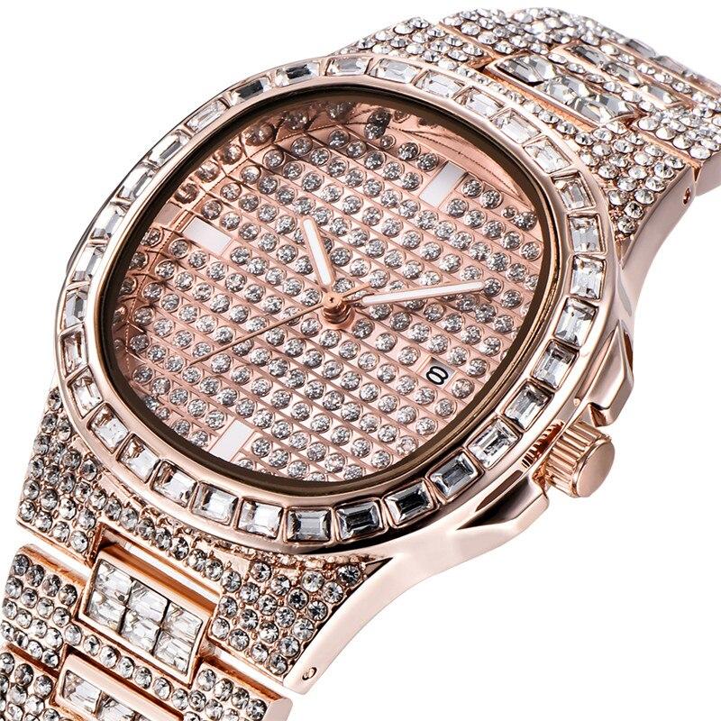 Mens Luxury Brand Diamond Watches Fashion Alloy Band Gold Business Quartz Wristwatches Erkek Saat Montres de Marque de Luxe 1556