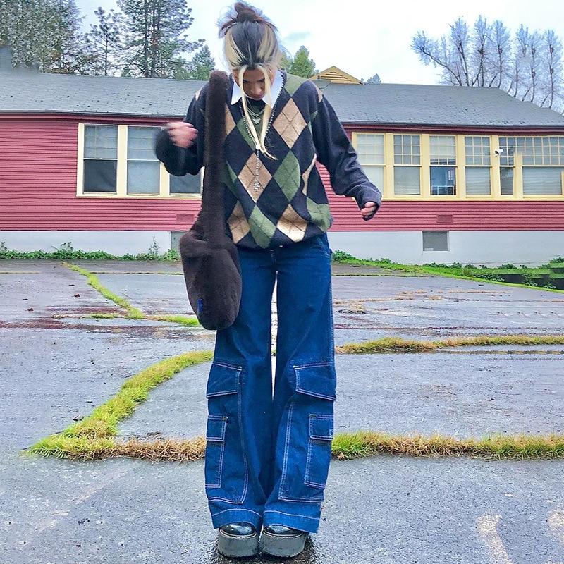Dark Blue Baggy Jeans Women Spring Casual Loose High Waist Wide Leg Pants Woman Vintage Big Pocket S