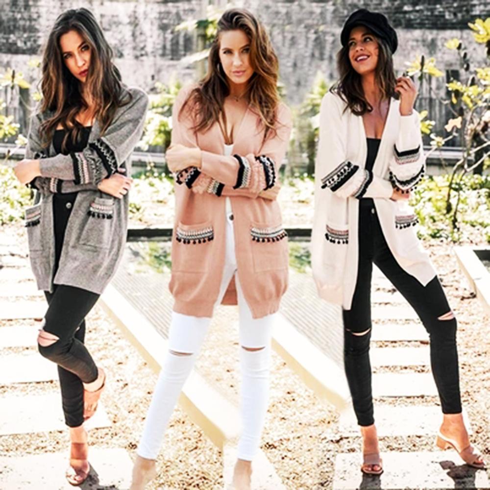 Jesień damski sweter z długim rękawem damski zimowy dzianinowy Boho damski rozpinany sweter kwiatowy wierzchnia Tassel hiszpański elegancki Cas