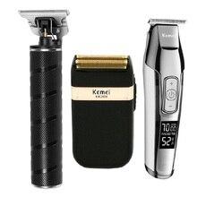 Kemei de Metal profesional de cabello eléctrica recargable Trimmer pelo Pelo máquina de afeitar Kit de KM-T9 KM-5027 KM-2024