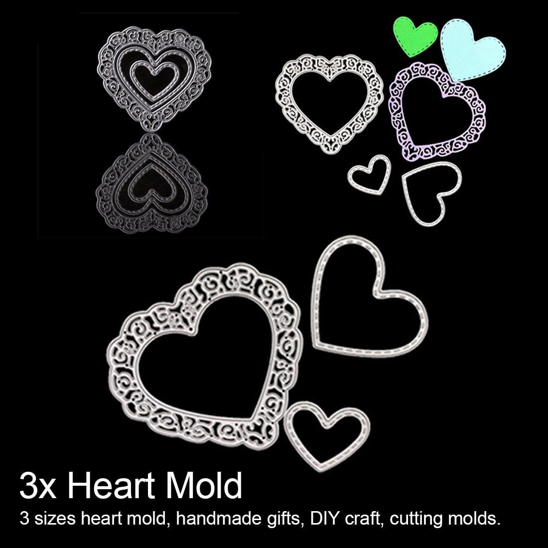Troqueles de corte de Scrapbooking 3x corazón acero de carbono en relieve rompecabezas creativo desarrollo cuchillo molde personalidad cuchillo troqueles de corte