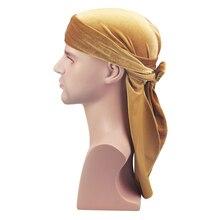 Unisex Atmungsaktive Samt Turban Hut Durag Perücken Doo Headwrap Chemo Kappe Lange Schwanz Pirate Hut Männer Frauen Haar Zubehör Headwear