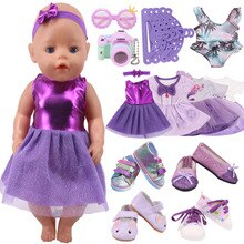 Doll Clothes Purple Series Dsiney Mermaid Dress Shoes For 18 Inch American&43CM Reborn Baby New Born