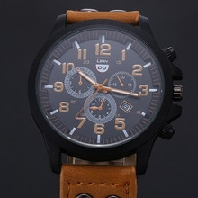 Men's Wristwatches High Quality Military Leather Waterproof Date Quartz Analog Casual Quartz Watches