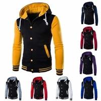 mens plain hoodie coat zip up baseball jacket sweatshirt sport hooded tops