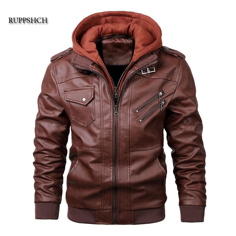Ruppshch Men Leather Jacket Autumn Motorcycle Pu Casual Hooded Jacket Motorcycle Rider Leather Coat