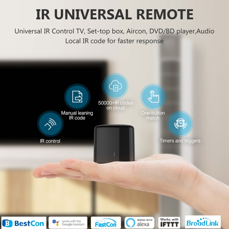 BroadLink BestCon RM4C mini WiFi Smart Universal IR Remote Controller Works with Google Home Wi-Fi 3G 4G, Alexa Smart Home