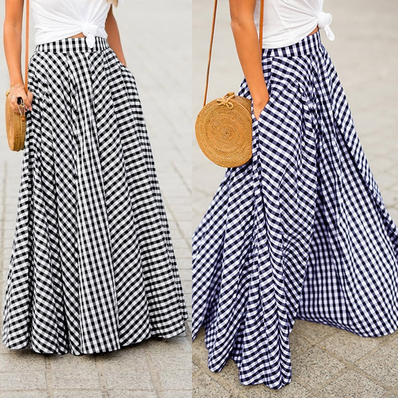 Women's Skirts 2021 ZANZEA Vintage Plaid Check Long Skirt  Zipper Pleated Faldas Bohemian Jupe Femme Casual Pockets Maxi Skirts beach maxi long skirt zanzea summer zipper skirts women elegant solid skirts bohemian skirt jupe female faldas saia oversized