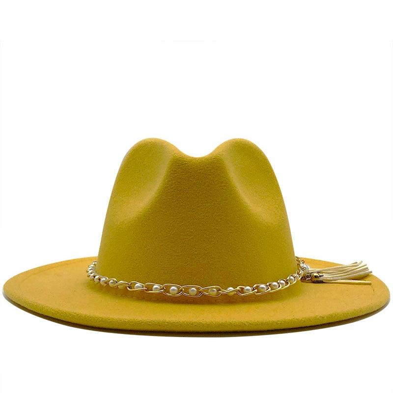 Women Men Wide Brim Wool Felt tassel Jazz Fedora Hats Panama Style Cowboy Trilby Party formal Dress Hat Large Size Yellow white