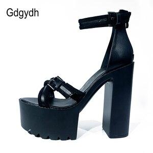 Gdgydh Summer Nightclub Catwalk Shoes Women Height 14CM Super High Heel Waterproof Platform Sandals Women Back Zipper Drop Ship