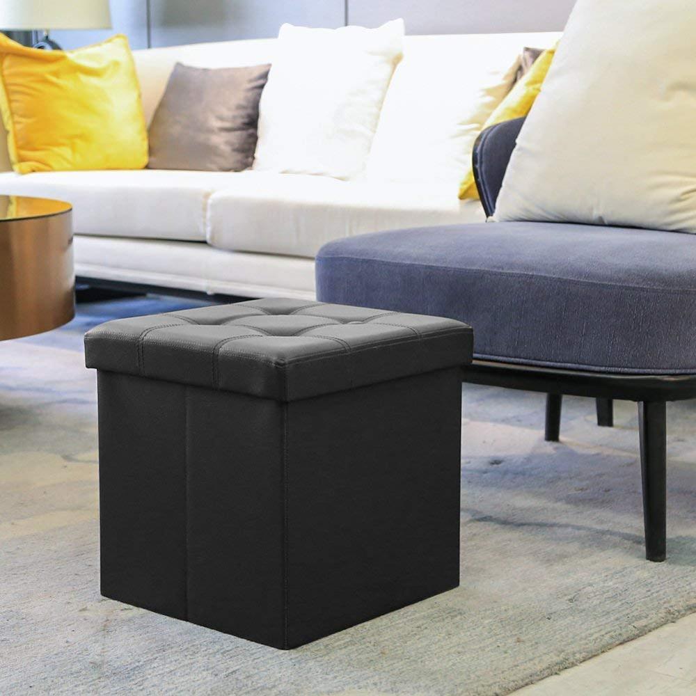Multi-función de pecho plegable banco de almacenamiento negro plegable PUF cubo reposapiés café taburete esponja mueble de banco