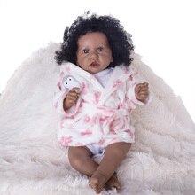 22 pouces série Saskia mignon peau sombre fille petite Elsie Reborn bébé poupées avec des vêtements complets-tissu corps poupée battements de cœur/larmes