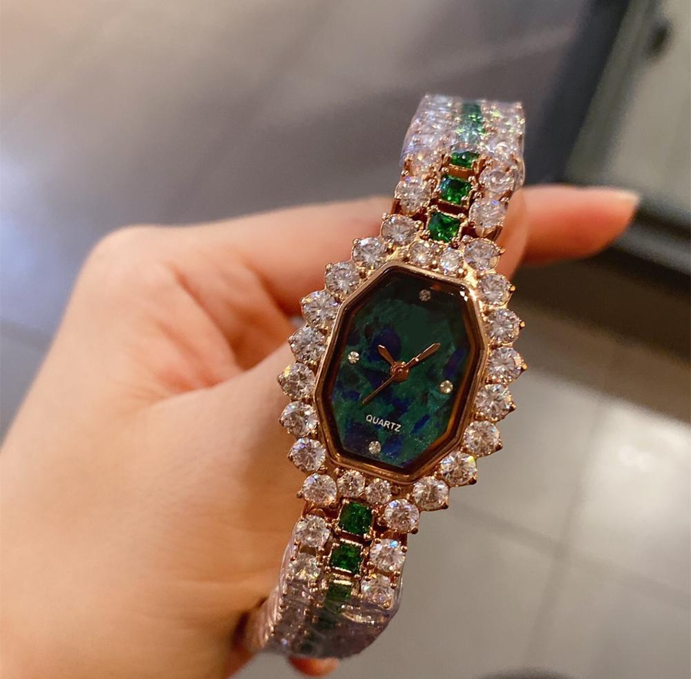 Luxury Women Watches Geometric Round Full Diamond Bracelet Stainless Steel Quartz Wristwatch New Rhinestone Crystal Gem Bangle