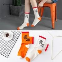 new fashion obsidian men and women socks cotton harajuku personality orange white korea happy soft hip hop funny girls socking