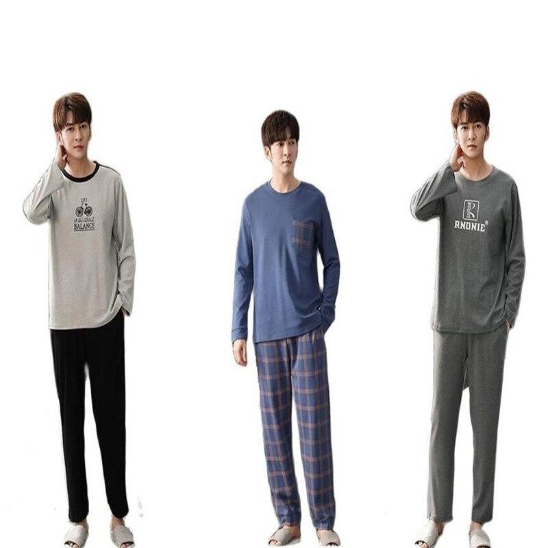 Осенние женские пижамные комплекты, мужские пижамы из 100% хлопка, повседневные пижамы для сна и отдыха, мужские пижамы